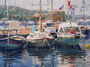 MOORED BOATS AT ST TROPEZ (2009), PALETTE KNIFE OIL ON LINEN, DETAIL